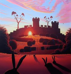 Warwick Castle - the Mound by Derrick Fielding @ Mini Gallery - Acrylic Painting Artsy Fartsy, Background, Illustration, Naive Art, Painting, Animation, Art, Prints, Sunset