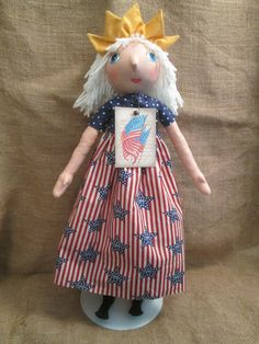 Lady Liberty Primitive Folk Art Doll by HeartstringsNStitchs