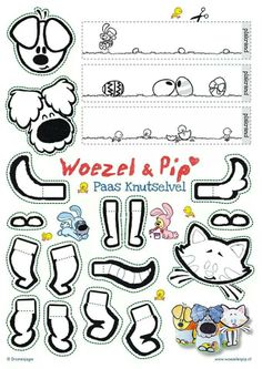 Woezel en pip Baby Crafts, Easter Crafts, Diy And Crafts, Games For Kids, Diy For Kids, Thing 1, Dog Pattern, Finger Puppets, Colouring Pages