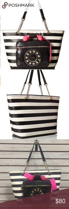 Betsy Johnson Oversized Shoulder Bag Betsy Johnson Oversized Shoulder Bag. Classic white and black stripes with hot pink phone, which detaches from the purse. Faux leather phone tote with dual handles and an outside pocket. Super fun purse and great as a gift.  SIZE 18.7 x 13.1 x 5.9 inches Betsey Johnson Bags Shoulder Bags
