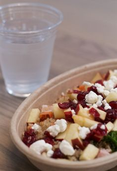 Quinoa  Apple, sliced in chunks Sweet potato, cooked and cut into chunks Cran-raisins Goat or Feta Cheese Kale Optional: Turkey (or other meat)