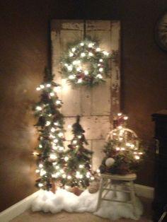Christmas decor.  Old chippy door.