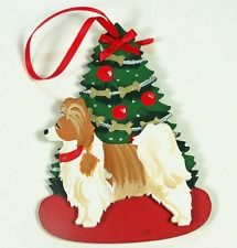 RED WHITE PAPILLON DOG WOODEN 3-D USA MADE DECORATED CHRISTMAS TREE ORNAMENT