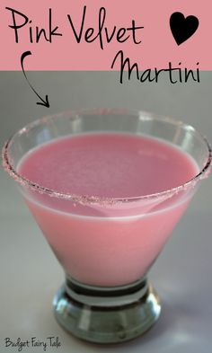 Pink Velvet Martini Recipe – This Fairy Tale Life Pink Velvet Martini Recipe // Budget Fairy Tale Party Drinks, Cocktail Drinks, Fun Drinks, Yummy Drinks, Cocktail Recipes, Beverages, Chambord Cocktails, Vanilla Vodka Drinks, Pink Cocktails