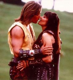Kevin Sorbo with costar Lucy Lawless (Hercules & Xena) from Hercules: The Legendary Journeys. I used to think it was exciting when they would join forces in one show