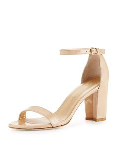 Stuart Weitzman Nearlynude Patent City Sandal, Black Pattern In Bambina Leather Wedges, Leather Sandals, Patent Leather, Stuart Weitzman, Shoes 2016, Napa Leather, Block Heel Shoes, Party Fashion, Wedding Shoes