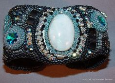 Once in a Blue Moon  Bead Embroidered Cuff  Bracelet. $260.00, via Etsy.