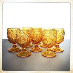 vintage amber goblets LE Smith Moon and Stars by amysvintagedecorium