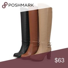 "Knee High Boots Height: Knee-High Heel Height: High (3"" and up) Pattern Type: Solid Heel Type: Hoof Heels A Queens Fitt Shoes Over the Knee Boots"