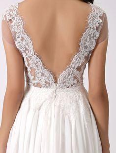 Deep V Back Beach Wedding Dress with Sheer Lace Bodice