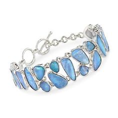 Multi-Shaped Blue Opal Doublet Mosaic Bracelet in Sterling Silver. 7""