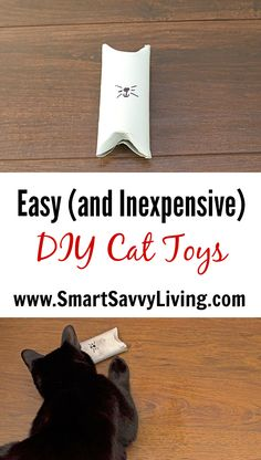 Easy DIY Cat Toys Tutorial   Have you ever bought your cat a neat expensive cat toy that only got played with once or twice and they prefer to play with random things around the house instead? Only all the time for us. Instead, I now make homemade cat toys. You won't believe how quick and easy this DIY cat toy is to make!