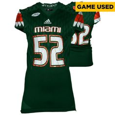 Miami Hurricanes Fanatics Authentic Game-Used Green #52 Adidas Football Jersey used between the 2015 and 2016 Seasons - Size 2XL