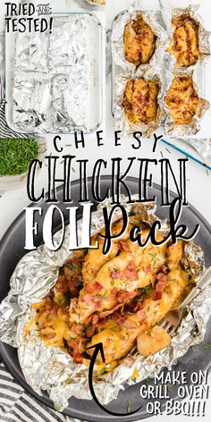 This chicken foil packets recipe is an easy way to make cheesy chicken and potatoes in the oven, on the grill, or over a campfire. This is a great summer recipe that makes tender chicken and delicious vegetables. This is a fun way to make a meal for the whole family to enjoy! This chicken foil packets recipe is great for summer and can be made in the oven, grill, or over a campfire. Whichever cooking method you choose, this is a fun way to make a meal for the whole family to enjoy! Chicken Foil Packets, Foil Packet Meals, Backyard Camping, Camping Tips, Meal Ideas, Dinner Ideas, Salmon Foil Packets, Foil Packet Potatoes, Grill Master