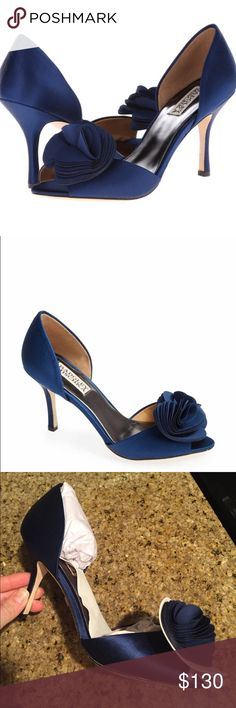 """Women's Thora D'Orsay Pump Layers of silk form a delicate flower, which is further highlighted by a peep-toe opening.Satin/Silk Imported Leather sole Heel measures approximately 3.5"""" Peep-toe dress pump in d'Orsay silhouette with layered silk flower and covered heel Badgley Mischka Shoes Heels"""
