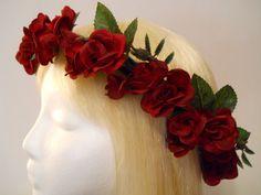 Flower Crown Head Wreath Red Rose Head Wreath by MyFairyJewelry