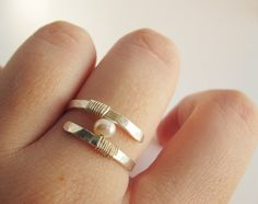 Pearl Engagement Ring Pearl Wedding Ring by LiuRokSilver on Etsy
