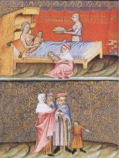 Swaddling.   Wenceslas Bible (Wenzelsbibel) - illustrated Manuscript; between 1390 and 1410 (Vienna, Codex vindobonensis Nr. 2759 - 2764);