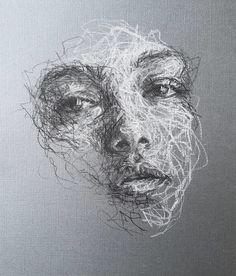 Black And White Art Drawing, Black Paper Drawing, L'art Du Portrait, Abstract Portrait, Cool Art Drawings, Art Drawings Sketches, Scribble Art, A Level Art, Fan Art