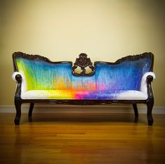 Splash Dyed Sofa - Painted Victorian Couch - ONE of a KIND Avant Garde Street Art Graffiti Artistic Rainbow Upholstered Masterpiece. I may be painting a sofa very soon.Dyl would never let me rainbow it but. Funky Furniture, Upcycled Furniture, Shabby Chic Furniture, Painted Furniture, Painted Sofa, Graffiti Furniture, Contemporary Furniture, Hand Painted, Victorian Couch