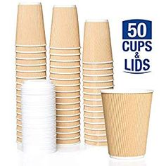 404328a2edf Caterserve Ripple Wall Paper Cups with Lids for Tea and Coffee Takeaway  Drinks Triple Wall Insulated