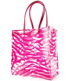 Stone Mountain clear & Pink Zebra shopper tote can be used as a lunch tote or to bring small items to work as a security purse.