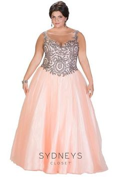 light peach and silver ball gown back