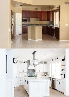 Home Remodeling Plans Our Remodeled White Kitchen Before and After Masterbrand Cabinets, Kitchen Design, Kitchen Renovation, Bathrooms Remodel, New Kitchen, White Kitchen, Kitchen Remodeling Projects, Kitchen Cabinets, Home Renovation