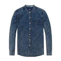 New Autumn causal denim shirts men long sleeve cotton Mandarin Collar