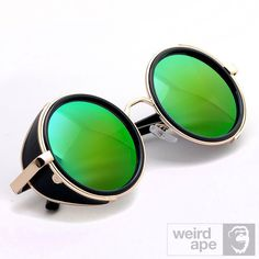 Side Shield Steampunk #Sunglasses - Gold Frame Green Mirrored Lens