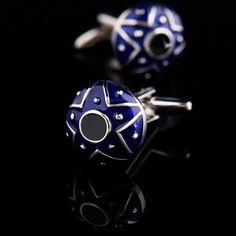 Blue Enamel Polished Star Cufflinks