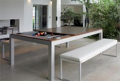 Modern Dining Table with hidden Pool Table Underneath Pool Table Dining Table, Pool Tables, Dinner Table, Table Bench, Pool Table Sizes, Hidden Pool, Moderne Pools, Pool Table Lighting, Design Tisch