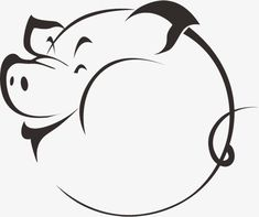 Hand-painted cartoon pig silhouette, Cartoon, Animal, Avatar PNG Image