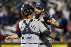 CrowdCam Hot Shot: Milwaukee Brewers catcher Martin Maldonado and relief pitcher Jim Henderson celebrate after defeating the New York Mets 4-2 at Citi Field. Photo by Brad Penner