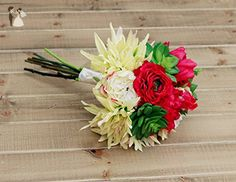 Silk Dahlia Succulent and Rose in Hot Pink, Lime, and Cream Wedding Bouquet - Venue and reception decor (*Amazon Partner-Link)