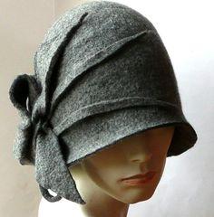 Grey Felted Hat felt hat Cloche Hat Fapper 1920 Hat by Feltpoint