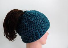 a9aeccd8 Crochet Pattern for the Arielle Bun Hat. Super Easy, Super Fast. Uses Chunky