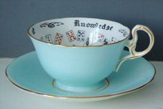 Fortune Teacup and Saucer - Aynsley Cup of Knowledge - Tea Leaf ...