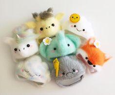 Crochet hats to fit Blythe dolls by Poppy Tree Lane. (Cloud Hats, Unicorn Hat, Elephant Hat, Giraffe Hat, Fox Hat)