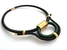 Black statement rope necklace thread wrapped by qachesa on Etsy, $60.00