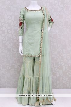pista soft silk gharara suit from palkhi fashion with resham embroidery,petite stone,kundan work. Pakistani Dresses Casual, Indian Gowns Dresses, Indian Fashion Dresses, Pakistani Dress Design, Indian Designer Outfits, Dress Casual, Casual Chic, Fancy Dress Design, Stylish Dress Designs