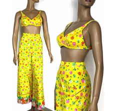 Vintage 1960s Playsuit Bell Bottoms Swimsuit by ByMidnightSparkle