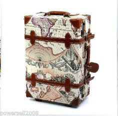 Amazon world map design 2 piece rolling luggage cosmetic 24 inch new fashion retro universal wheel pull rod pvc with pigskin trolley bags gumiabroncs Choice Image