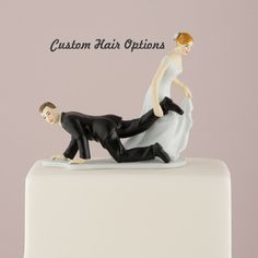 Wedding Cake Topper  Funny Cake Topper Bride and Escaping Groom  by LoveandLuxeHandmade, $42.99