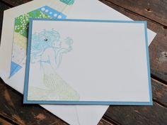 Note Cards Mermaid Stationery Mermaid Note Cards Beach Note