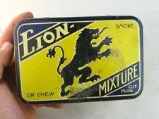 28885 Old Vintage Antique Cigarette Tobacco Box Tin Lion Mixture