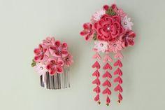 正絹ちりめん 椿の花寄かんざし「華」ピンク つまみ細工 - あんみつゆっか