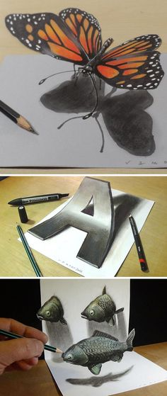 Anamorphic artist Sandor Vamos creates incredible trick-of-the-eye, 3D drawings that seem to jump from their pages.