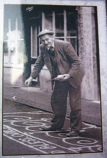 A resident of the town of Knutsford (Alec Brookes) sanding the street in celebration of May Day The custom continues to this day. Cheshire England, May Days, Vintage Postcards, Historical Photos, Old Photos, Celebration, The Past, Winter Jackets, Urban
