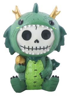 SUMMIT COLLECTION Furrybones Scorchie Signature Skeleton in Blue Dragon Costume Holding Stick of Roasted Marshmallow YTC Summit International Inc SS-Y-8138